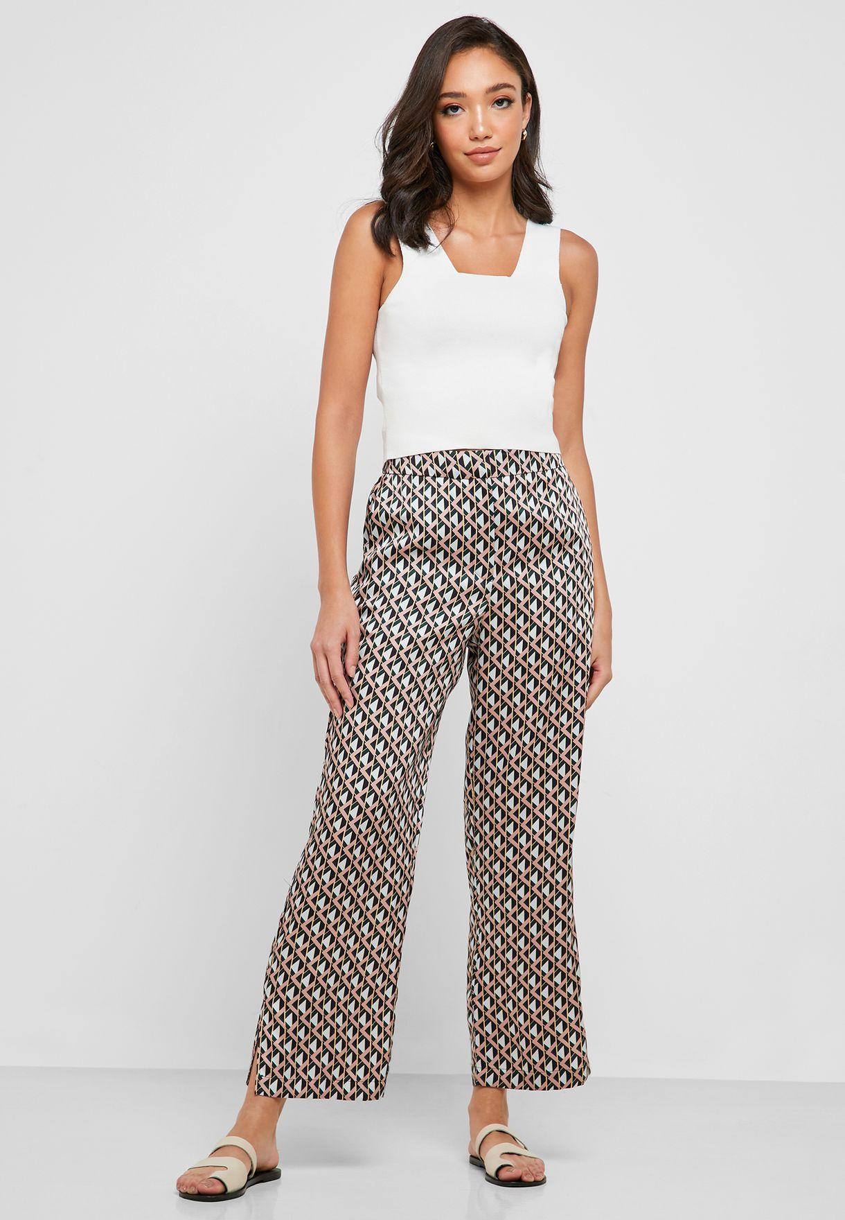 High Waist Side Slit Printed Pants