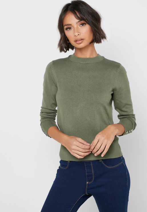 High Neck Button Cuffed Sweater