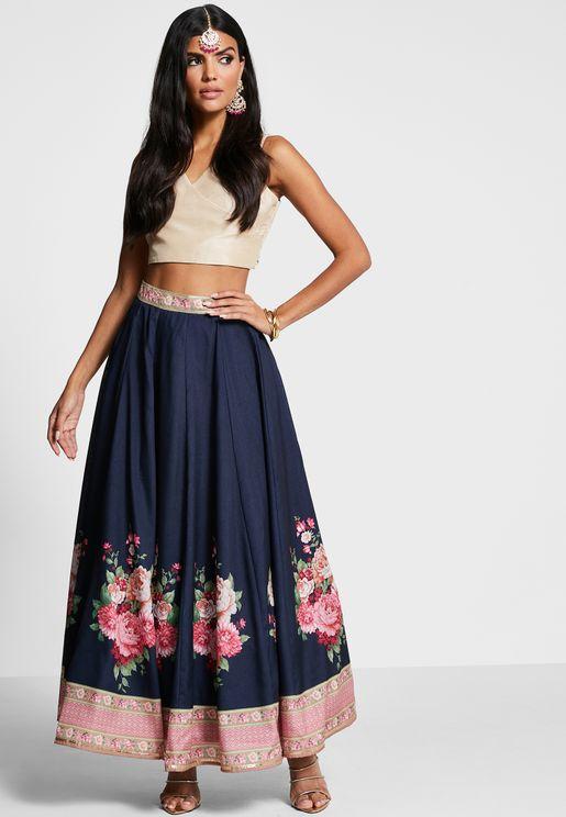 Navy Floral Gota Kali Maxi Skirt