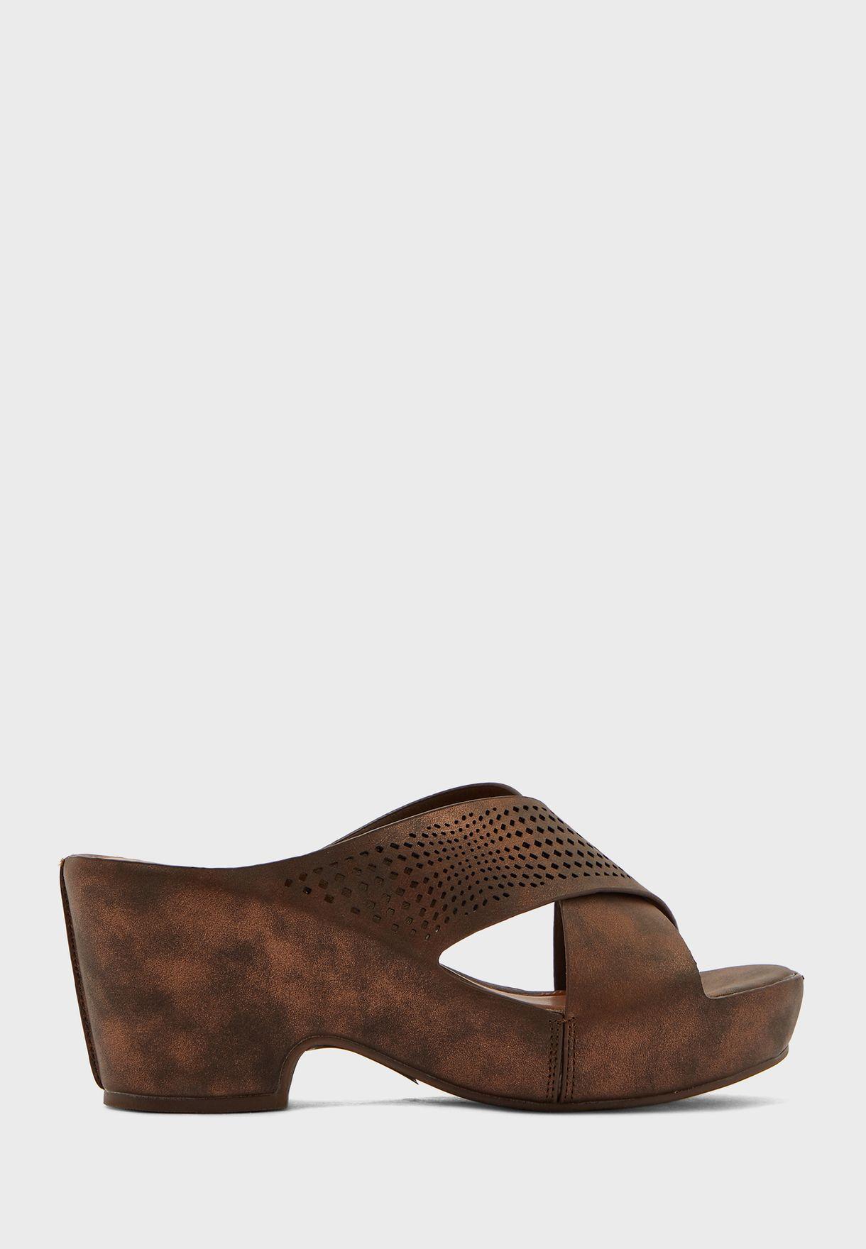 Perforated Strap High Heel Sandal