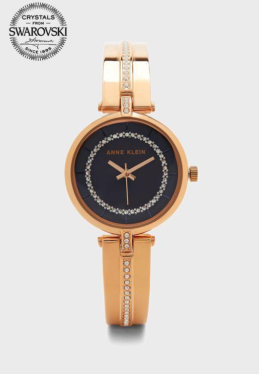 Crystal Embossed Steel Strap Watch