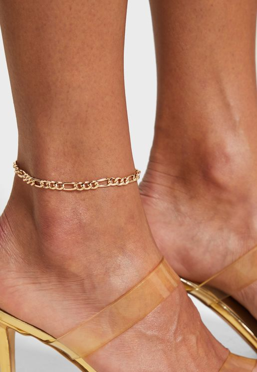 Diam Curb Chain Anklet Pk