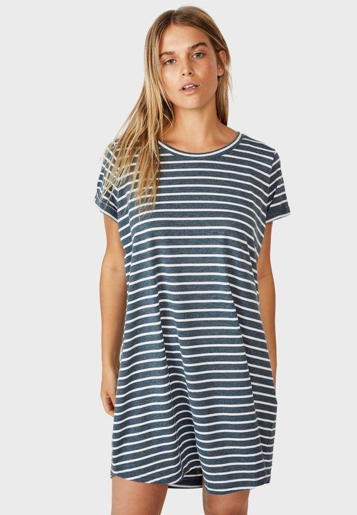 Crew Neck Striped T-Shirt Dress