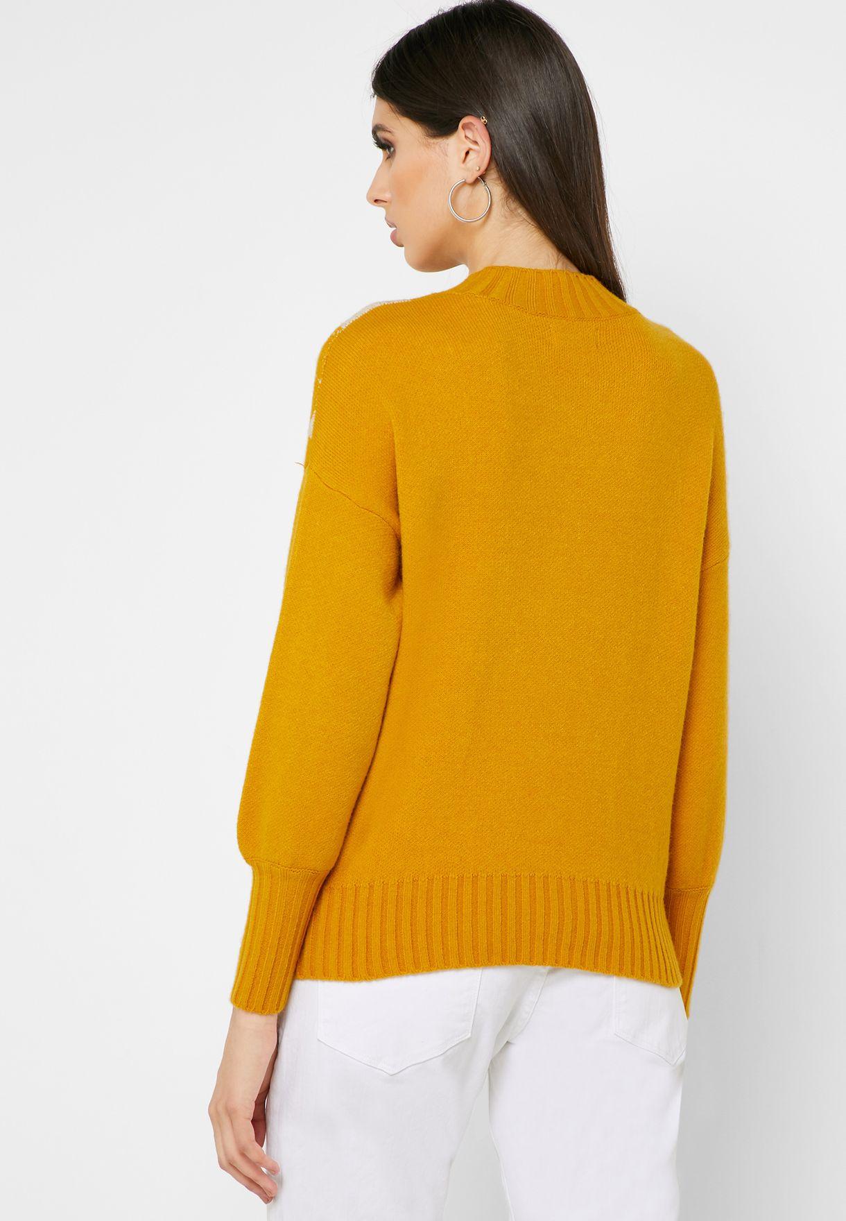 Lurex Print Ribbed Hem Sweater