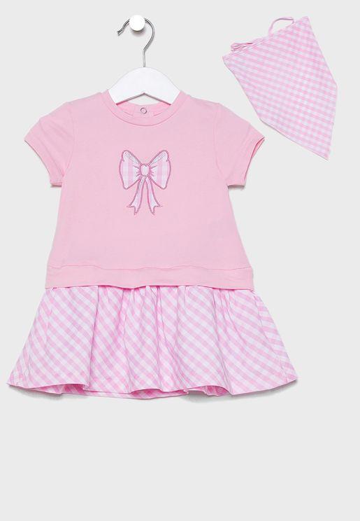 Infant Graphic Dress + Headscraf Set