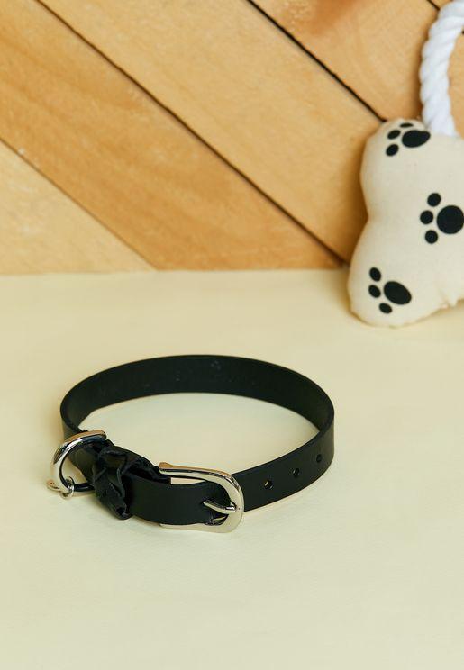 Black Braid Detail Leather Dog Collar