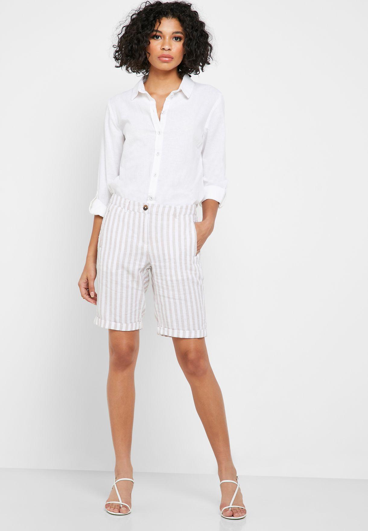 Roll Hem Striped Shorts