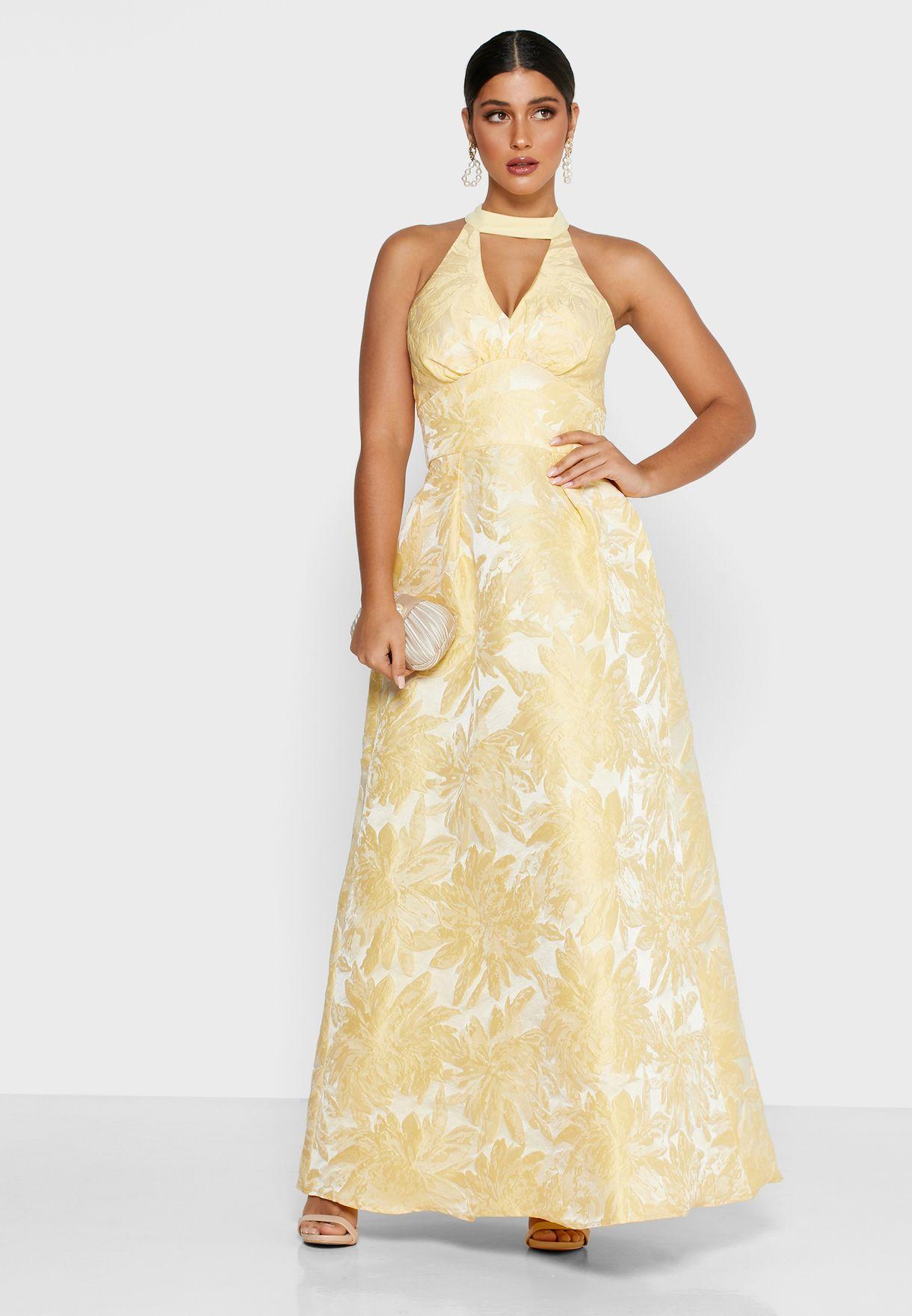 Choker Neck Jacquard Dress