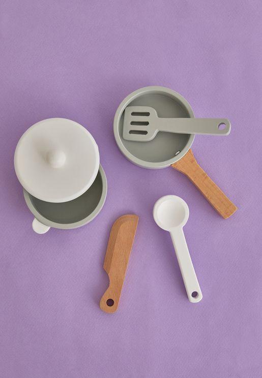مجموعة لعبة المطبخ الخشبية