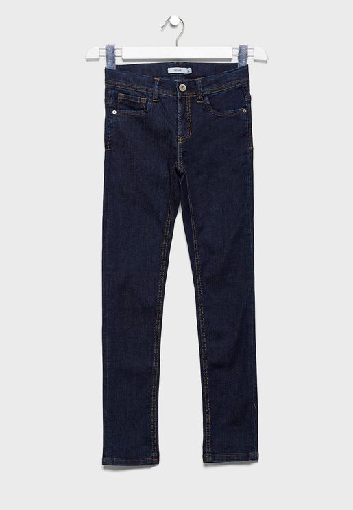 Kids Button Detail Straight Jeans