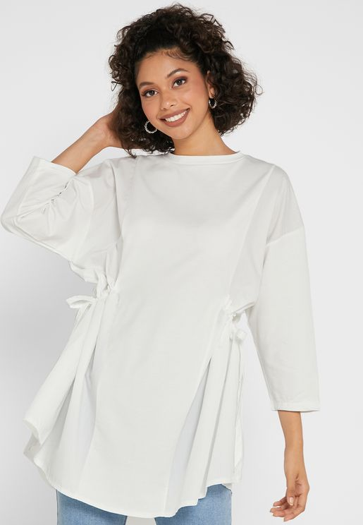 Side Ruched Oversized Top