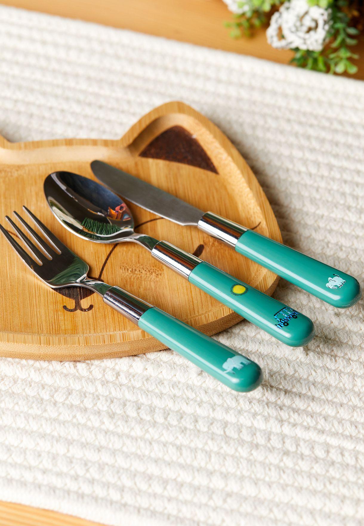 Set Of 3 Green Cutlery Set