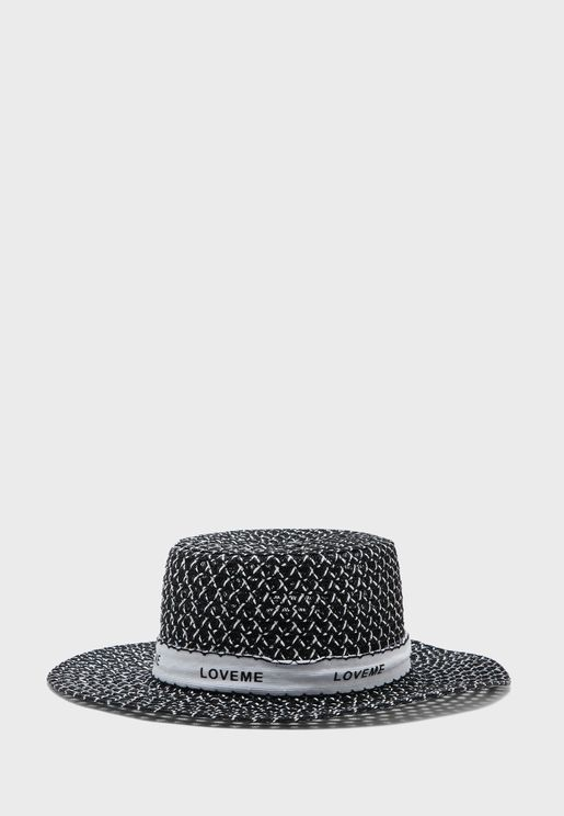 Mixed Straw Slogan Band Boater Straw Hat