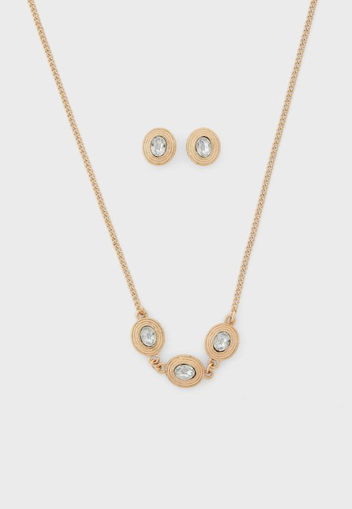 Oval Textured Jewelled Necklace And Earrings Set