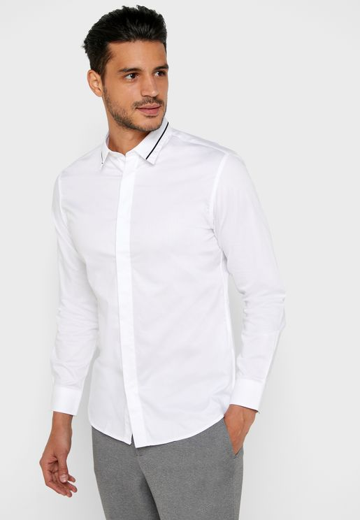 Stripe Detail Collar  Shirt