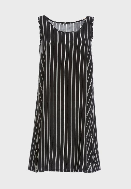 Striped Scoop Neck Dress