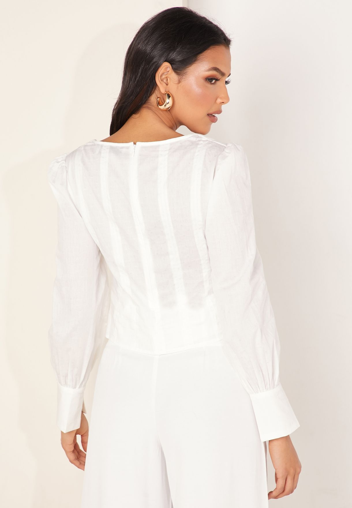 Buy Finders Keepers White Florence Shirred Waist Plunge Top For Women, Uae 12264at89wdp