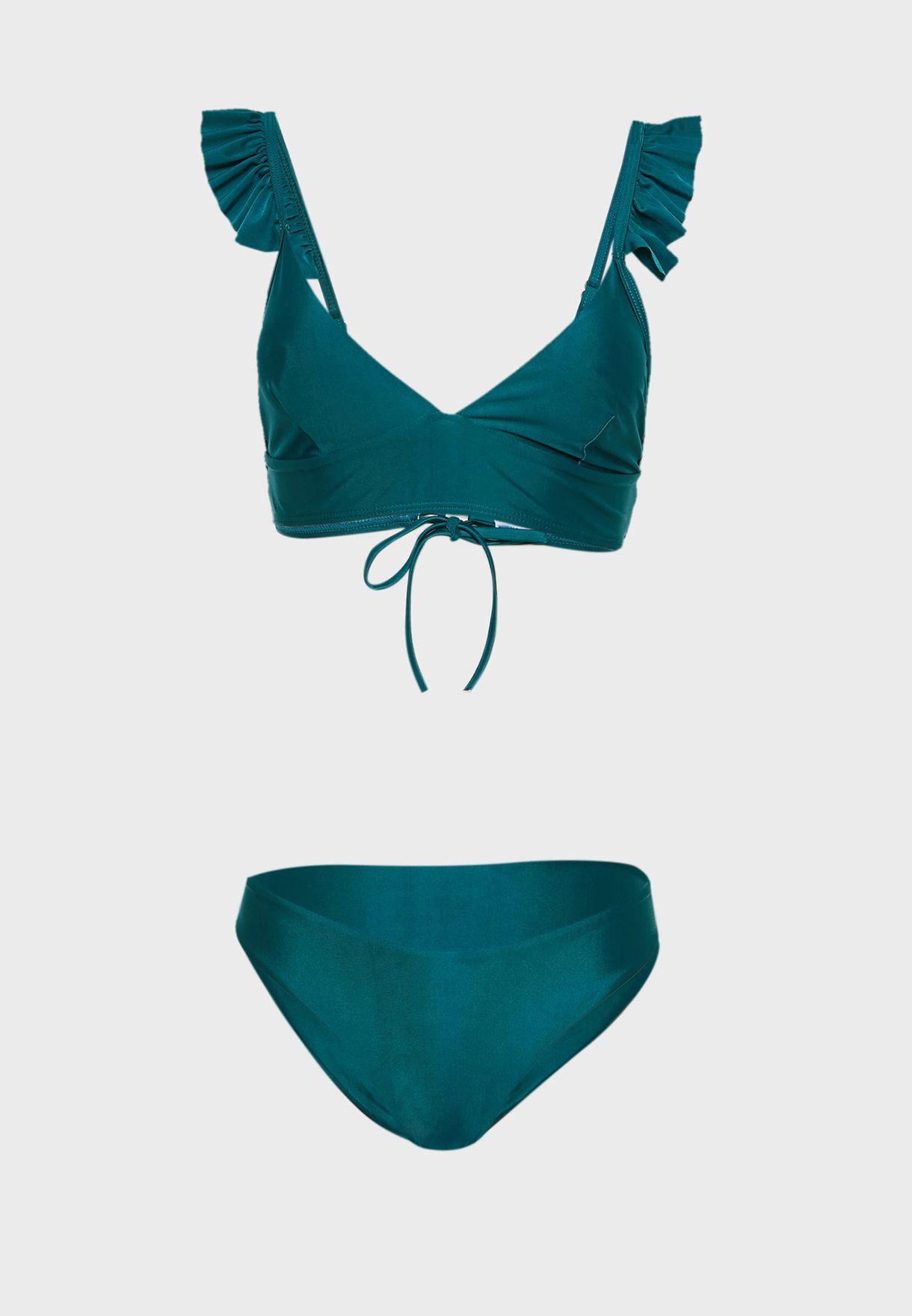 Frill Shoulder Bikini Set