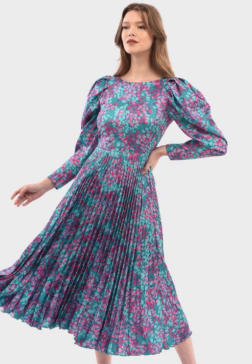 Puffed Sleeves Pleated Dress