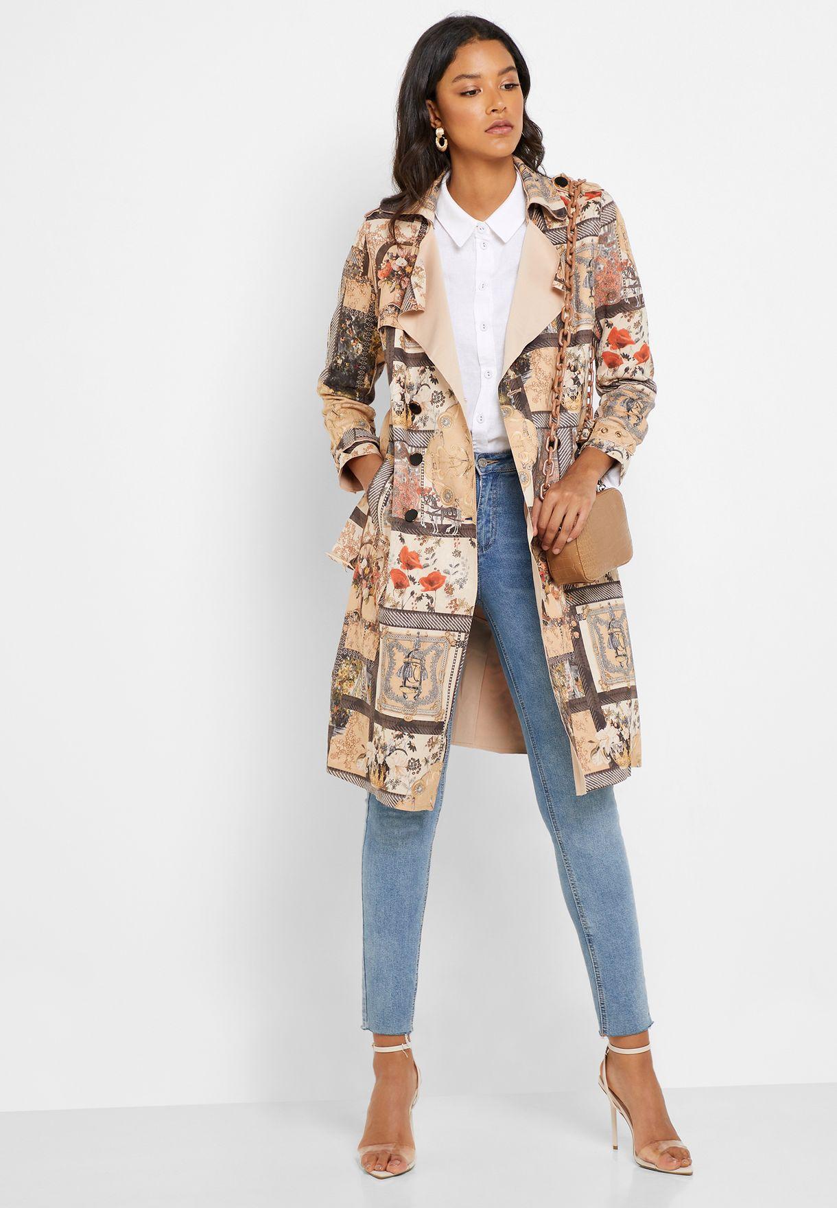 Belted Longline Printed Coat