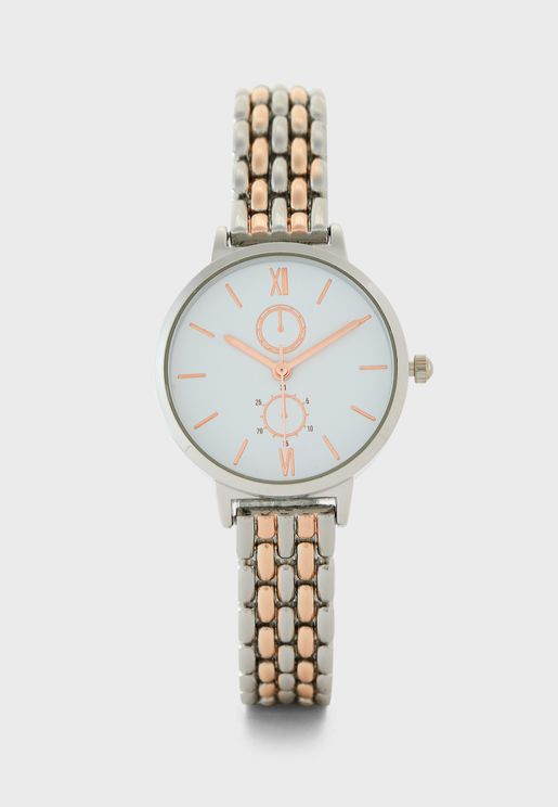 Two Tone 5 Link Bracelet Watch