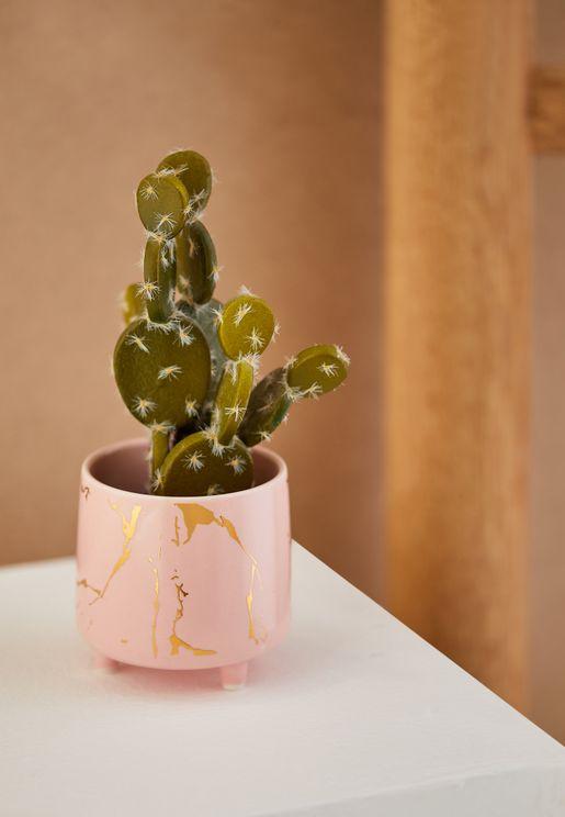 Cracked Gold Plant Pot
