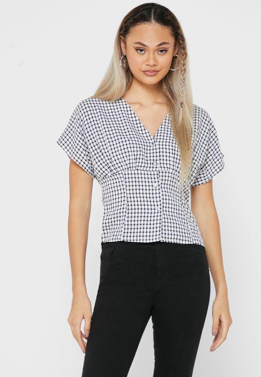 Gingham Batwing Shirt