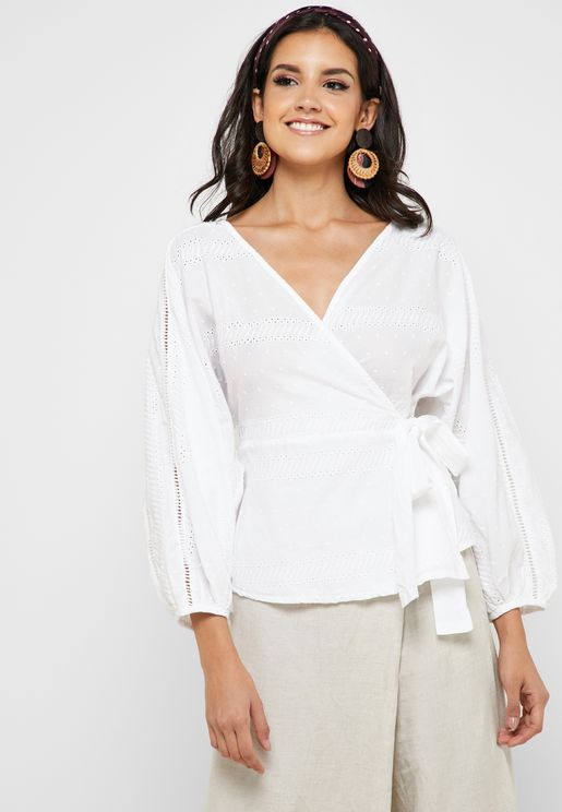 Broiderie Wrap Top