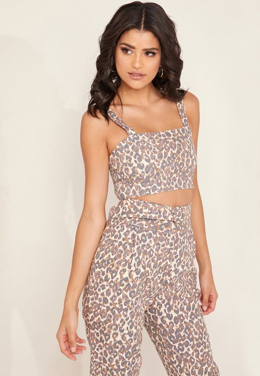 Glaze Animal Print Cropped Top