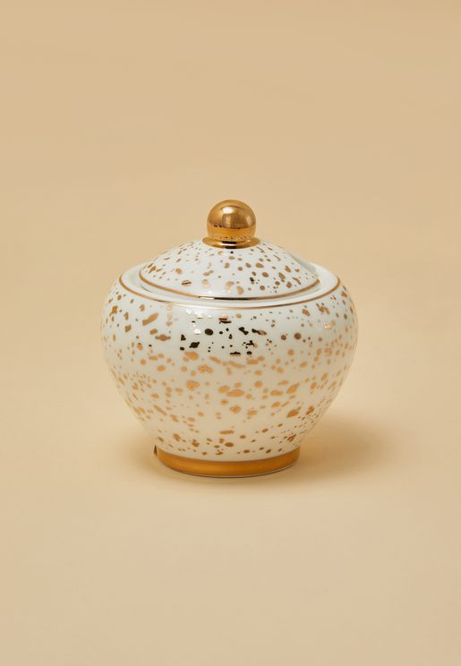 Gold Patterned Sugar Bowl