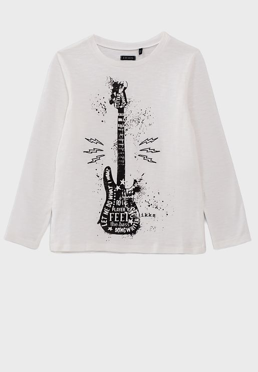 White Long Sleeve T-Shirt With Round Neck And Guit