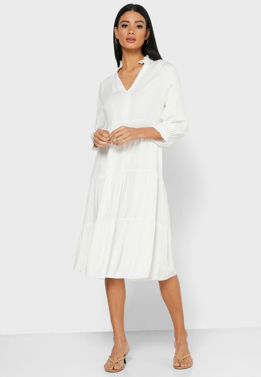 Puffed Sleeve Ruffle Hem Midi Dress