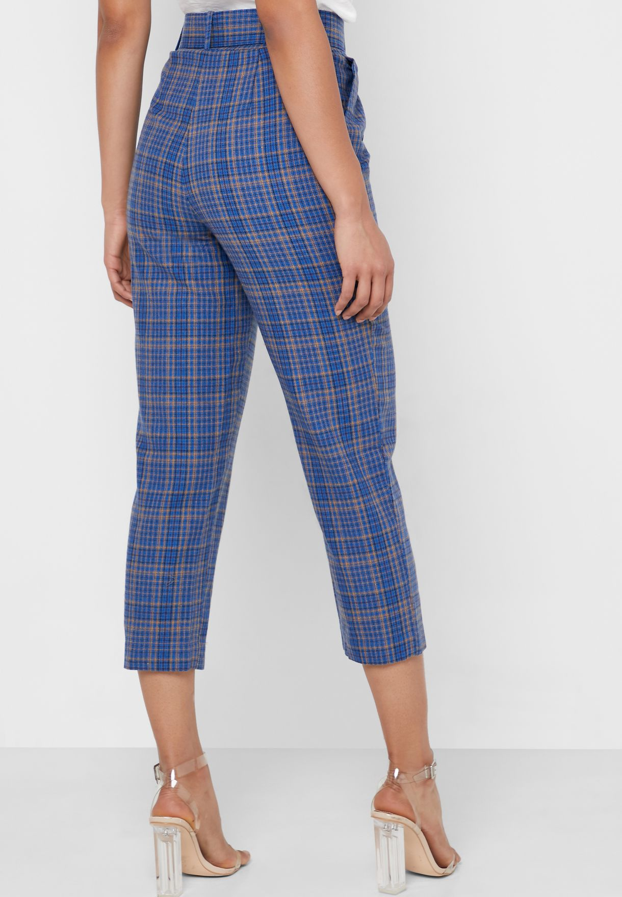 Belted Checked Pants