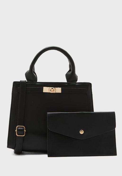 Classic Handbag &and Wristlet Pouch Set