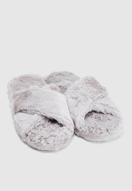 Cross Over Mule Slippers In Grey