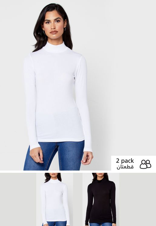2 Pack High Neck Long Sleeve Top