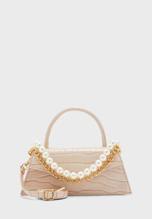 Croc Handbag with Pearl and Chain