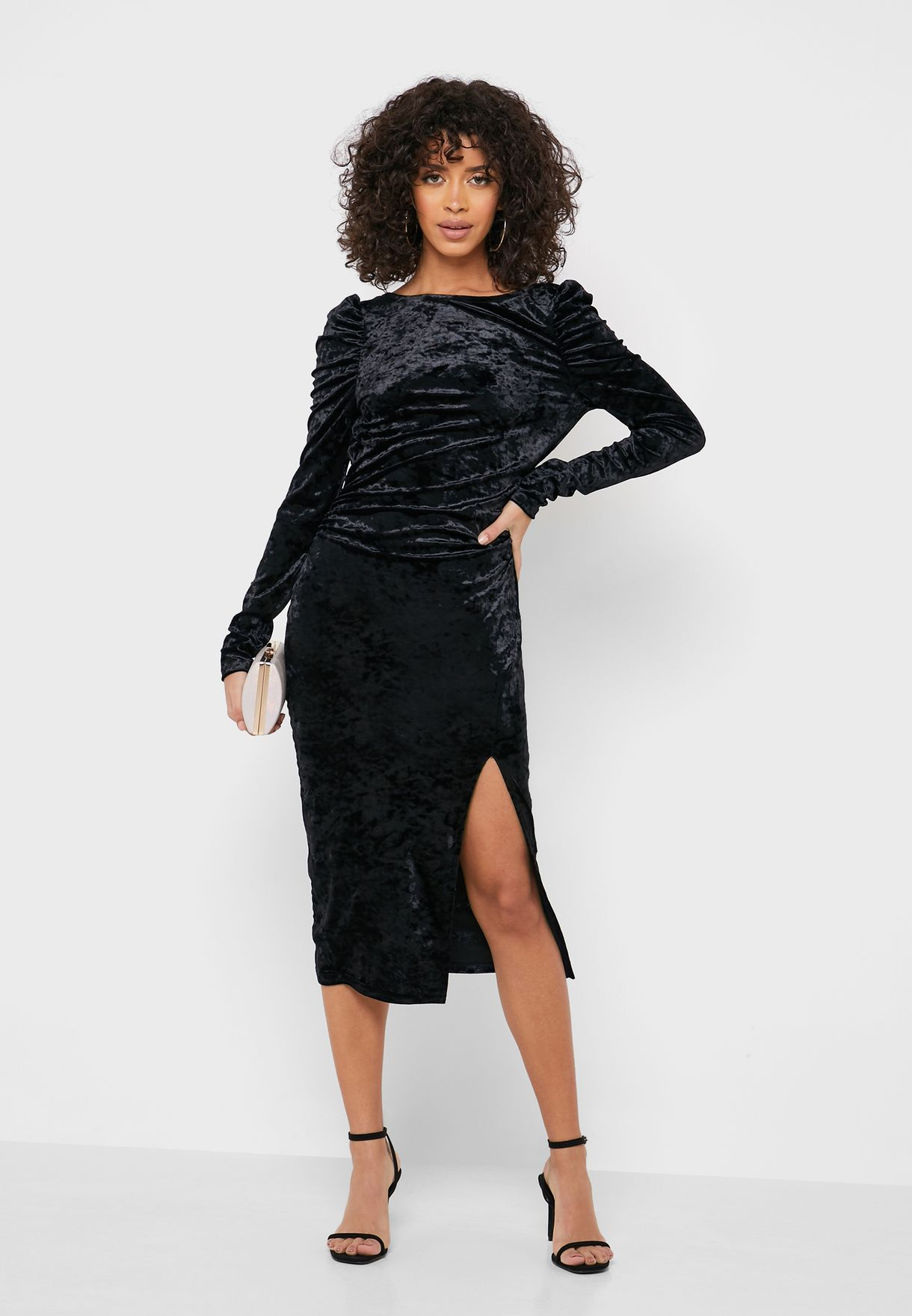 Buy Dorothy Perkins Black Puff Sleeve Side Slit Dress For Women, Uae 18832at89zfp