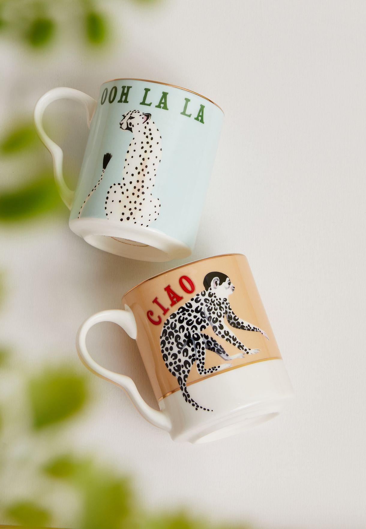 Set Of 2 Small Mugs Cheetah & Monkey