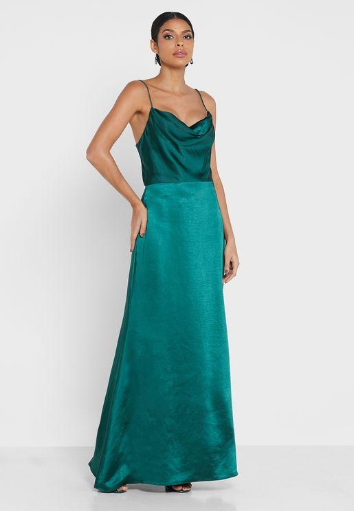 Cowl Neck Strappy Dress