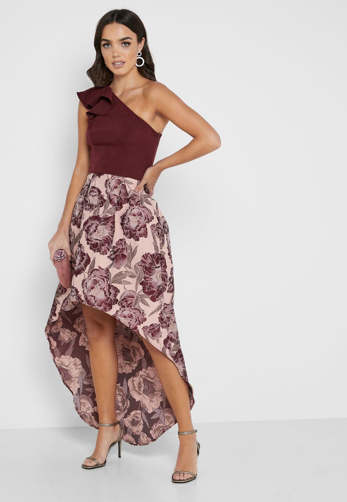 One Shoulder Ruffle Trim Printed Dress