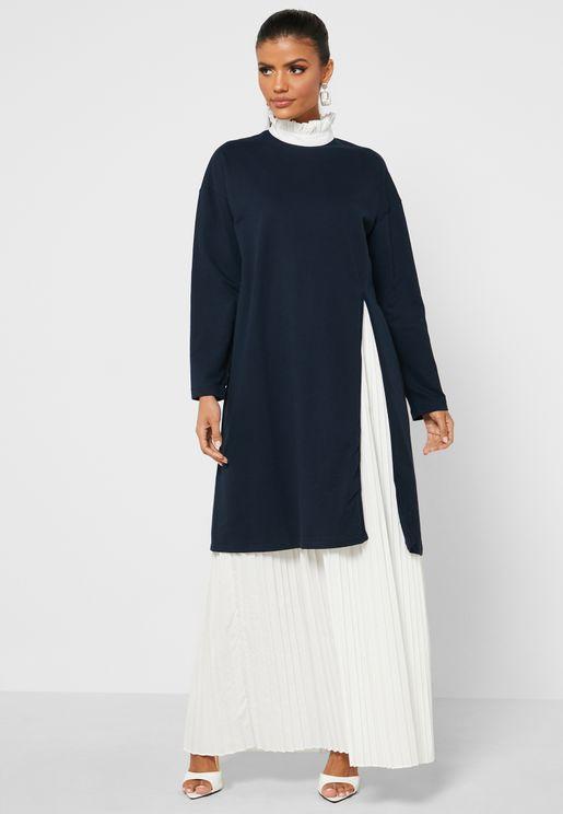 High Neck Pleated Overlay Dress