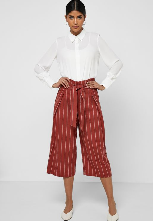 Striped Belted Paperbag Pants