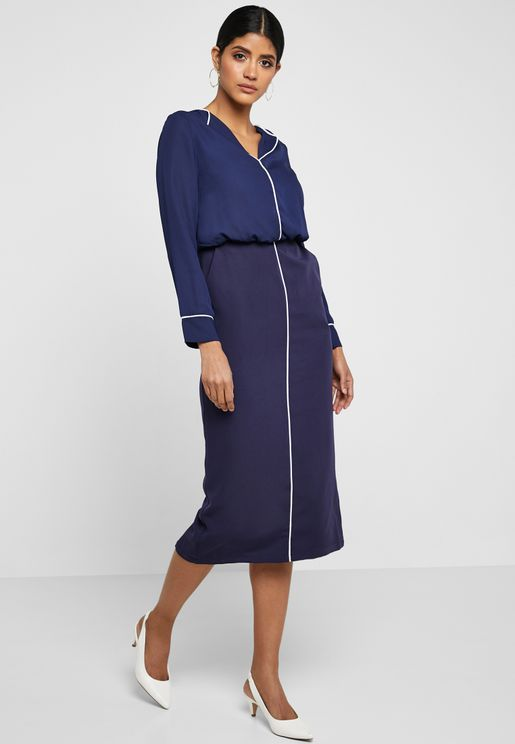 Contrast Piping Shirt Midi Dress