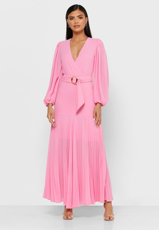 Front Slit Pleated Dress