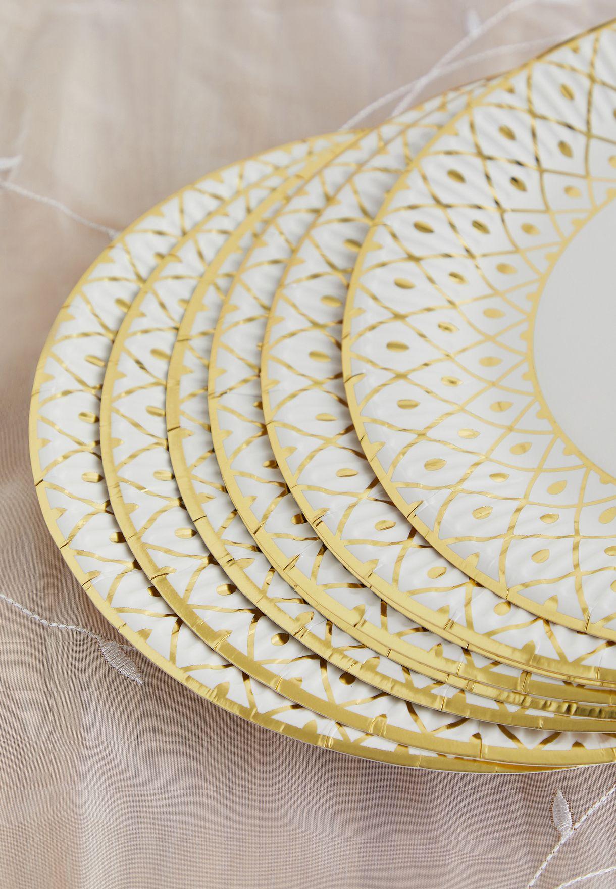 Party Porcelain Gold Deco Plate Medium 8 Pack