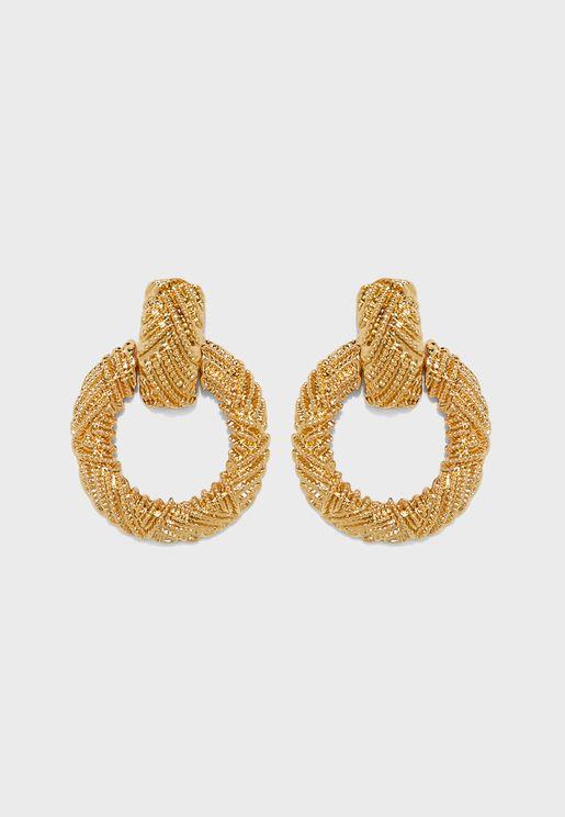 Textured Circle Drop Earrings
