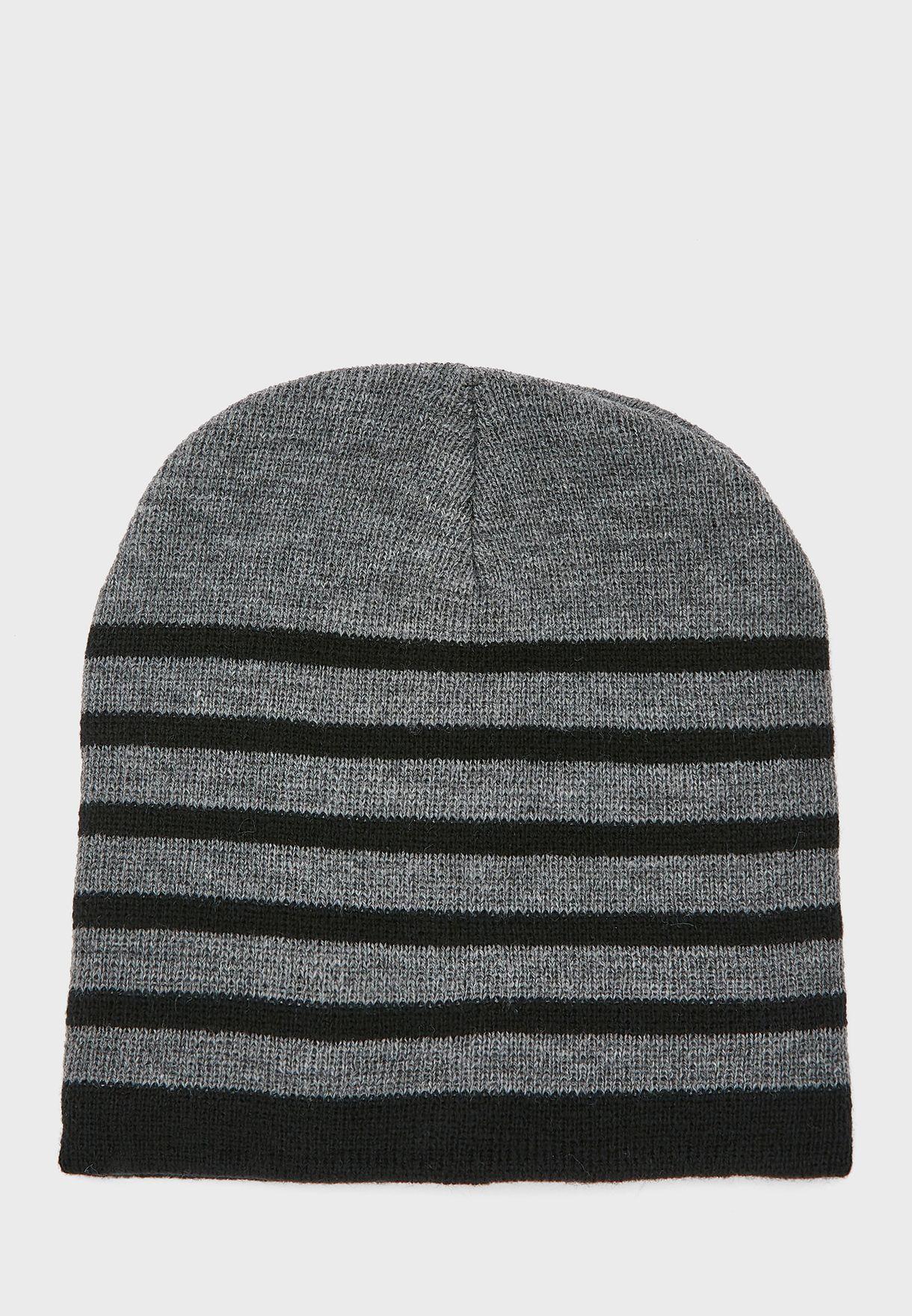 MENS STRIPED BEANIE HAT