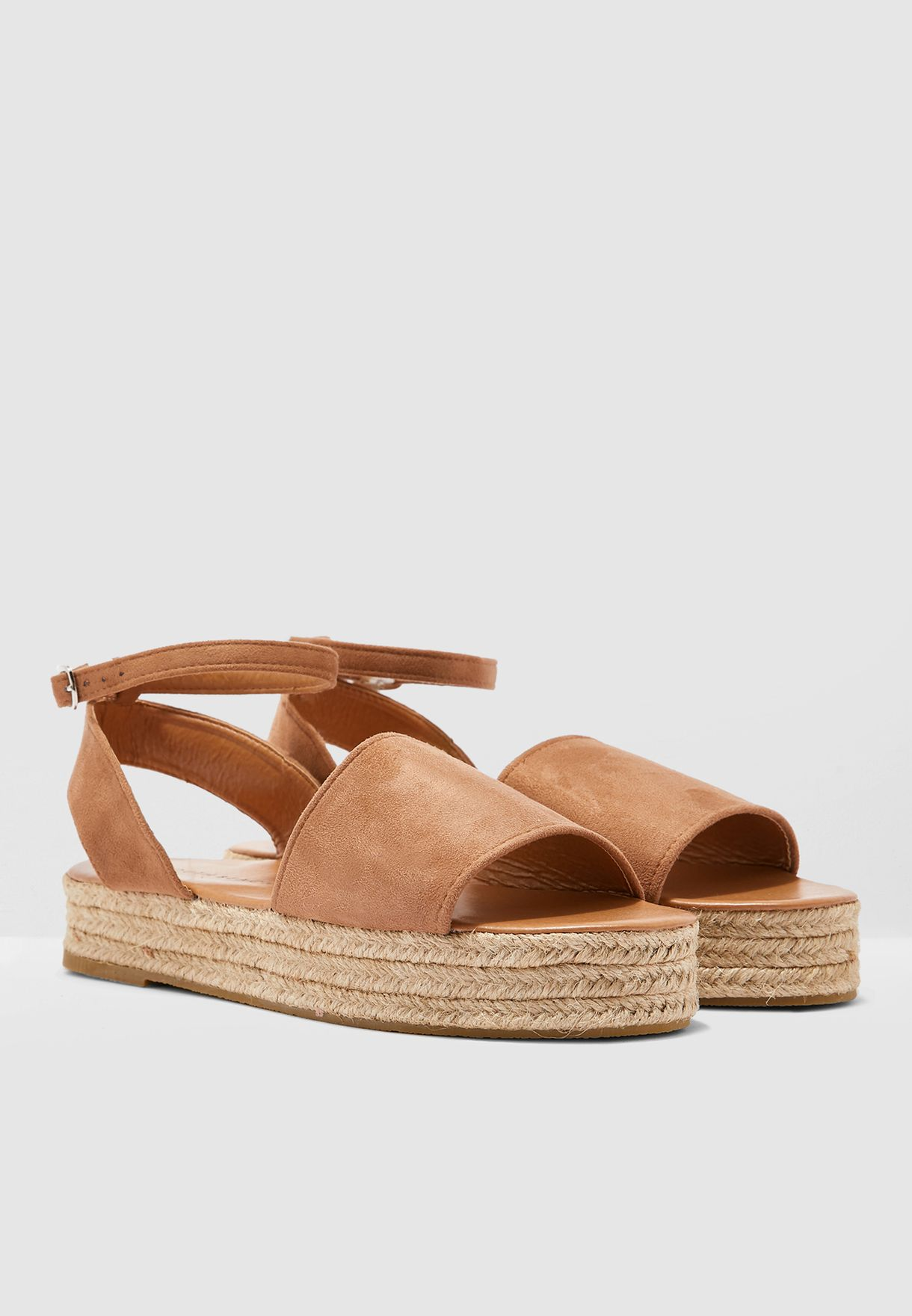 Ankle Strap Wedge - Tan