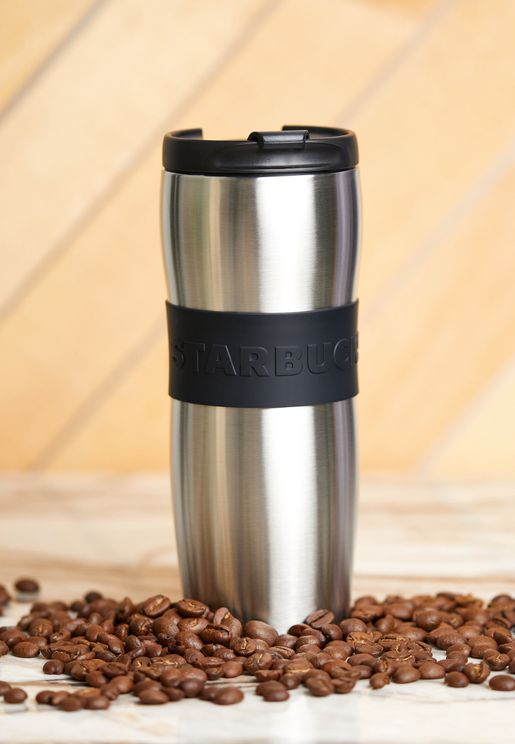 Silver Curve Band Tumbler With Lid 12Oz